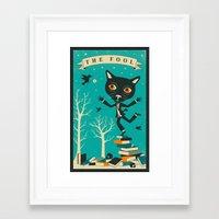 tarot Framed Art Prints featuring TAROT CARD CAT: THE FOOL by Jazzberry Blue