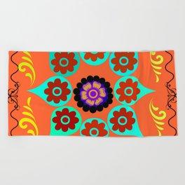 Talavera Tile Orange Beach Towel