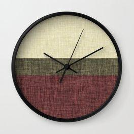 Tri Color Geometric Stripe Olive Green Red Wine Ecru Cream Burlap Print Wall Clock