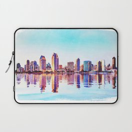 Watercolor of San Diego Skyline at dusk Laptop Sleeve