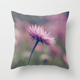 Pink Paper Daisy Throw Pillow