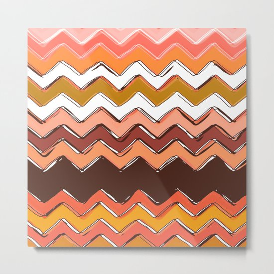 autumn chevron Metal Print