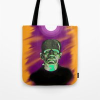 frankenstein Tote Bags featuring Frankenstein  by JT Digital Art