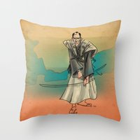samurai Throw Pillows featuring Samurai by David Finley
