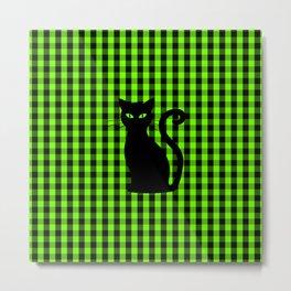 Black Cat on Luminous Green and Black Gingham Check Metal Print