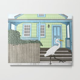 Great Egret and House Metal Print