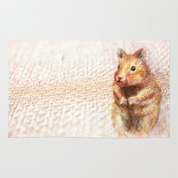 hamster Area & Throw Rugs featuring hamster by dace k