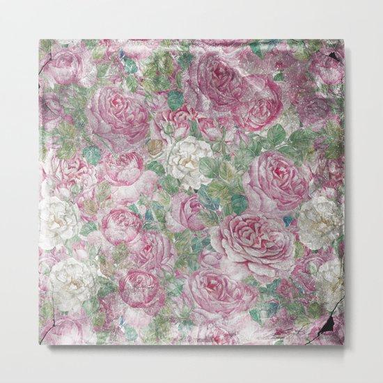 Vintage & Shabby-chic - floral roses flowers rose flower Metal Print