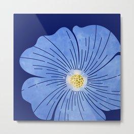 Morning Glory / blue floral art Metal Print