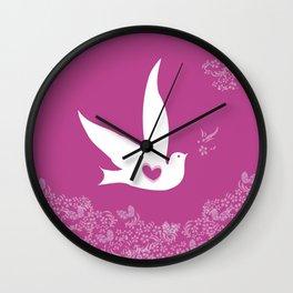 Wings of Love - Purple Wall Clock