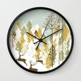 Christmas winter landscape Wall Clock