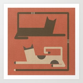 CATS IN LOVE (abstract animals) Art Print