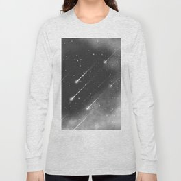 Monochrome space. Starfall. Night starry sky. Long Sleeve T-shirt