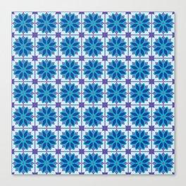 Mediterranean Tile Pattern blue and purple Canvas Print