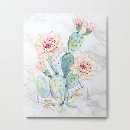 Prettiest Cactus Rose Marble Watercolor by Nature Magick Metal Print