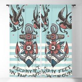 Anchor with birds - Keep my feet on the ground Blackout Curtain