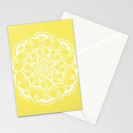 Mellow Yellow Flower Mandala Stationery Cards