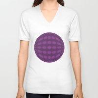 globe V-neck T-shirts featuring Purple globe by Avril Harris