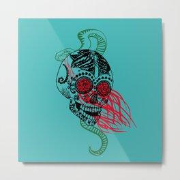Skull and Snake Metal Print