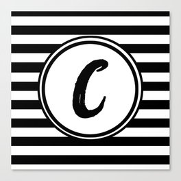 C Striped Monogram Letter Canvas Print