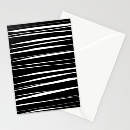 Black and White Abstract Stripes Stationery Cards