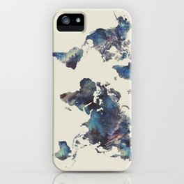 world map 124 blue  #worldmap #map iPhone Case