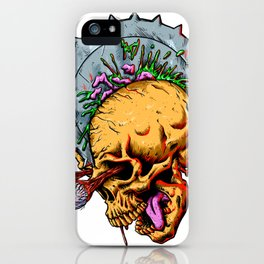 Skull cut by blade iPhone Case