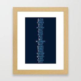 Phonetic Alphabet Navy Blue Framed Art Print