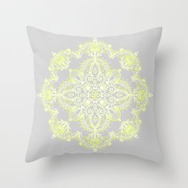 Pale Lemon Yellow Lace Mandala on Grey Throw Pillow
