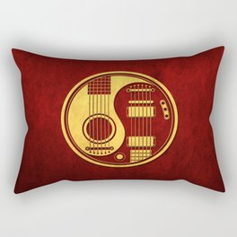 Vintage Red and Yellow Acoustic Electric Guitars Yin Yang Rectangular Pillow