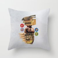 burger Throw Pillows featuring Burger by Lerson
