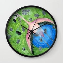 Yard Flamingo Kiddy Pool Wall Clock