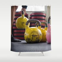 crossfit Shower Curtains featuring Kettlebell Pick Up by StirlingStudio