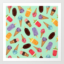 Pastel green Ice Cream cones Pattern | Ice cream and popsicle summer pattern Art Print