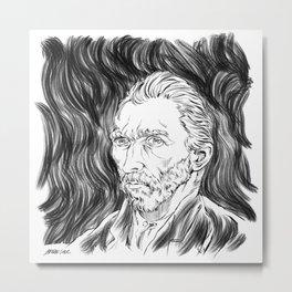 Van Gogh in black Metal Print