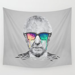 Albert Hofmann - Psychedelic Polygon Low Poly Portrait Wall Tapestry