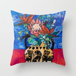 Lions and Tigers Vase with Protea Bouquet Throw Pillow