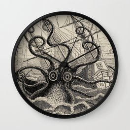 """The octopus; or, The """"Devil-fish"""" - Henry Lee - 1875 Giant Octopus Sinking Ship Wall Clock"""