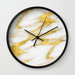 Italian 18 Karat Gold on Pure Cream Marble Wall Clock