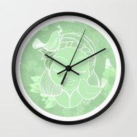 namaste Wall Clocks featuring Namaste by Camila Fernandez