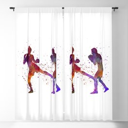 Woman boxer boxing man kickboxing silhouette isolated 02 Blackout Curtain