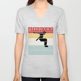 Retro Freerunning Team Tee Shirt Unisex V-Neck