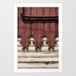red cream carved wooden wall detail Art Print