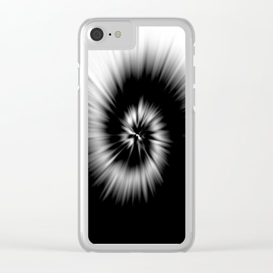 TIE DYE #1 (Black & White) Clear iPhone Case