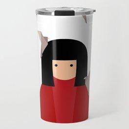 Japanese girl with origami birds. Oriental style Travel Mug