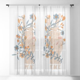 Peace Sign With Orange Flowers, Blue Flowers And Vines Sheer Curtain