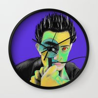 salvador dali Wall Clocks featuring Salvador Dali by Zmudartist