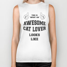 AWESOME CAT LOVER Biker Tank