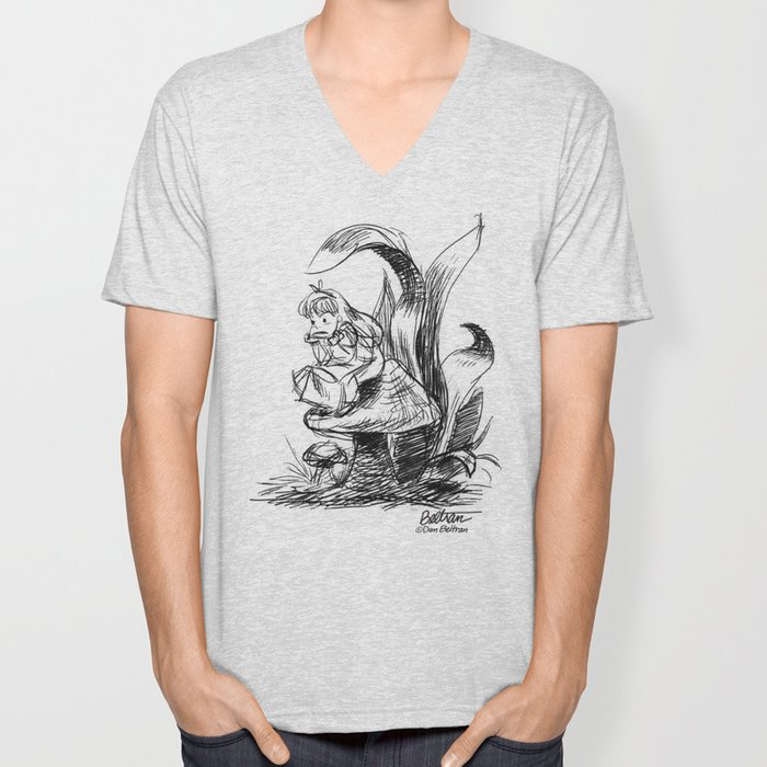 Pouty Alice  - Ink Sketch Unisex V-Neck