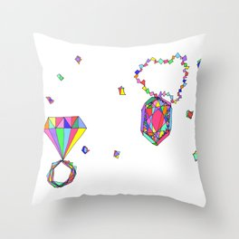 Shine Colorfully diamonds jewelry illustration fashion gem colorful accessory princess girly Throw Pillow